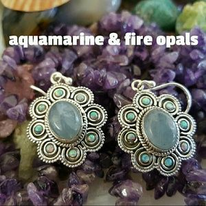 Aquamarine & Fire Opal Earrings Sterling Silver